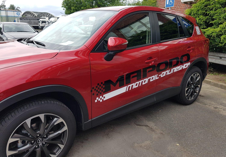 Fahrzeugbeschriftung für Mapodo Onlineshop